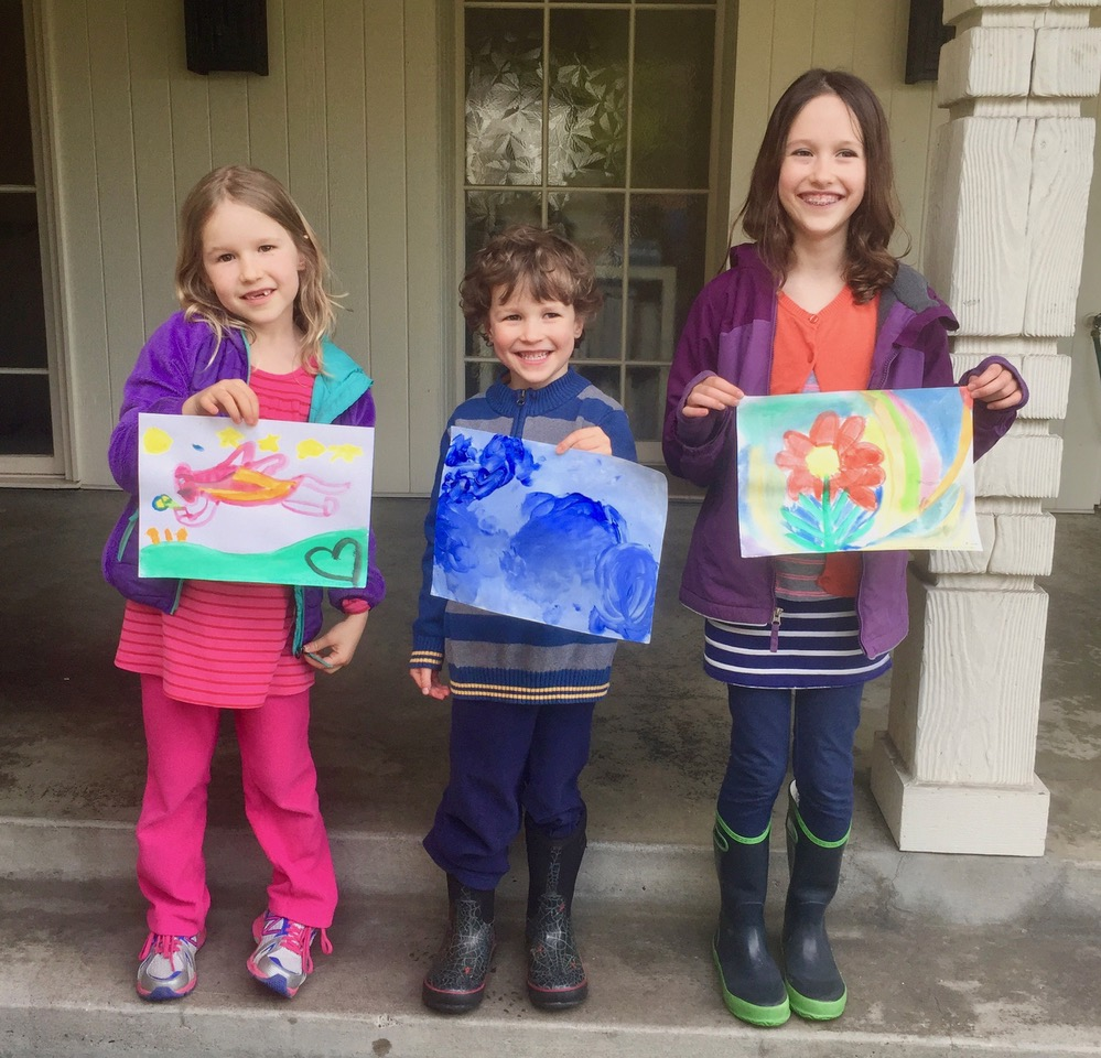 The Quinn family siblings worked as artists to help raise money to support families at Seattle Children's Hospital. These participants include McGilvra Elementary kindergartener Lily; pre-schooler Clarke; and second grader, Alden Quinn.