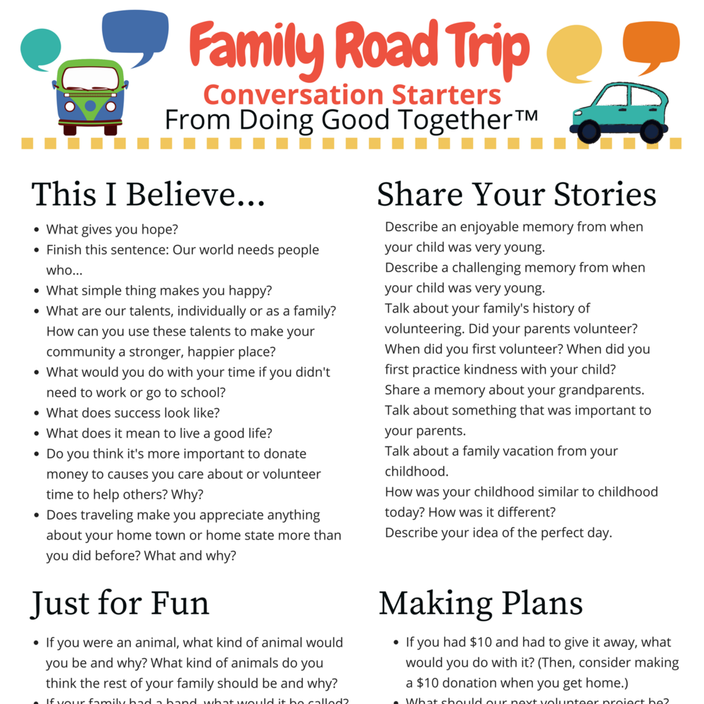 Family Road Trip Conversation Starters