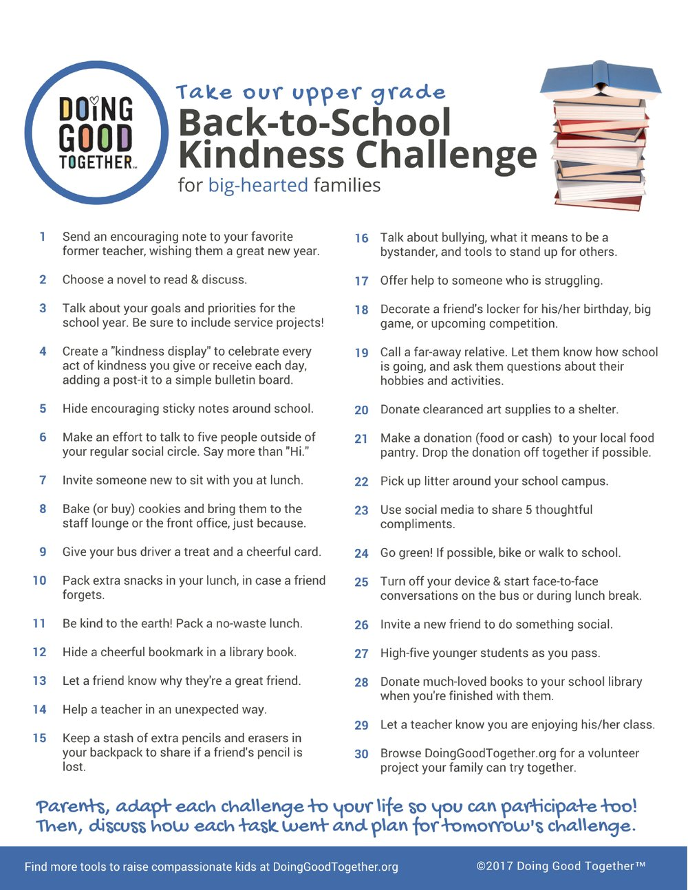 Click to print the upper grade back-to-school challenge.