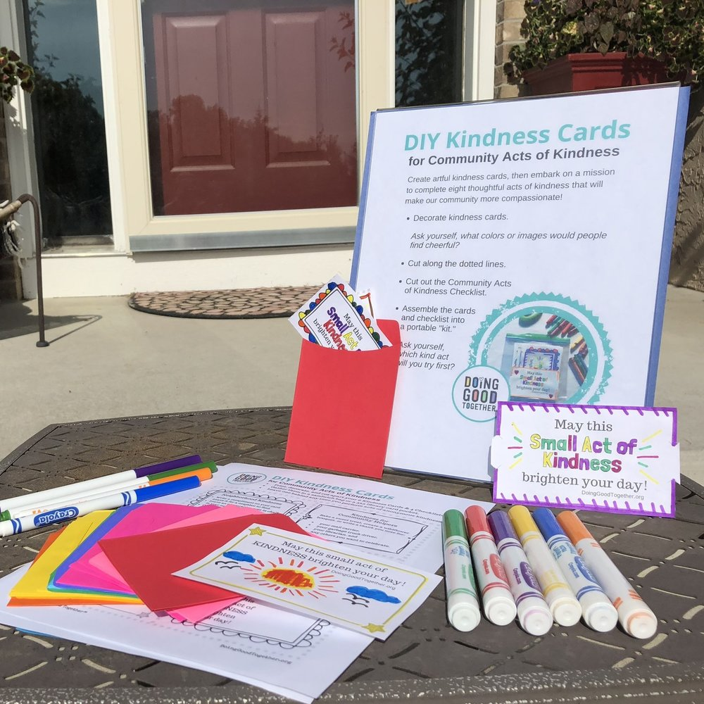 Decorate DIY Kindness Cards, complete with neighborly kindness suggestions. Designed to fit into  these handy envelopes.