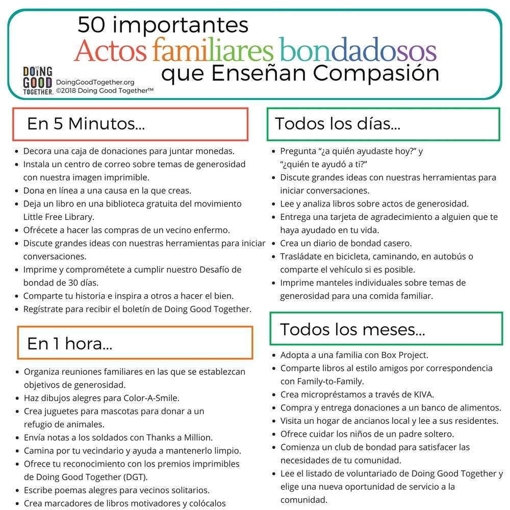 Spanish Version! 50 Family Acts of Kindness