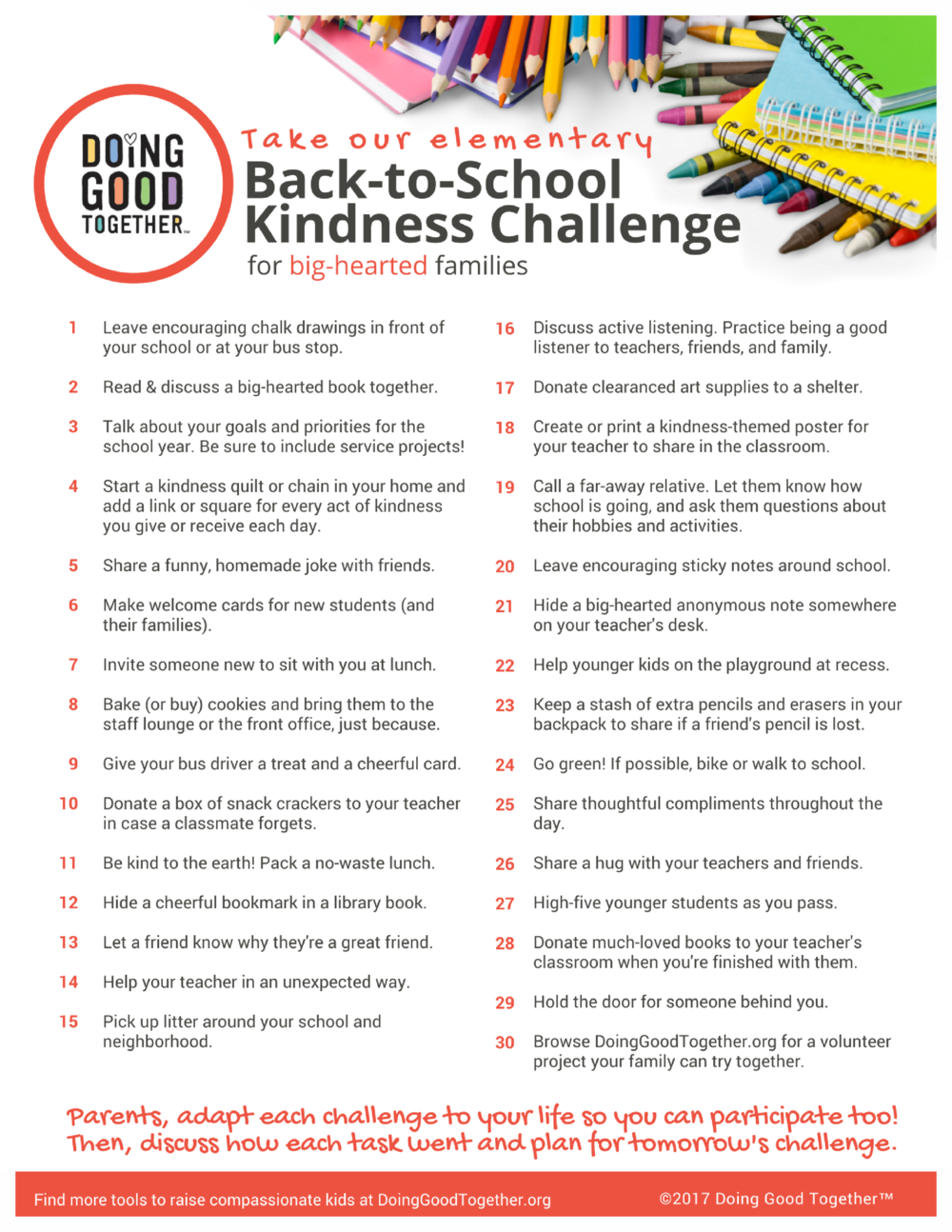 Click to print the elementary back-to-school challenge.