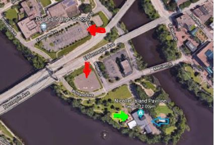 Plenty of free parking is available (see RED ARROWS.) Entrance is at the GREEN ARROW. Please avoid parking in the reserved (BLUE ARROW) lot and also avoid parking at Nicollet Island Inn, west of the Pavilion.