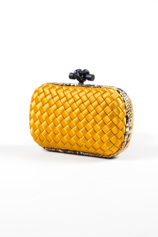 038_Bottega Veneta Gold Black Satin Python Intrecciato Woven Knot Minaudiere Clutch.jpg