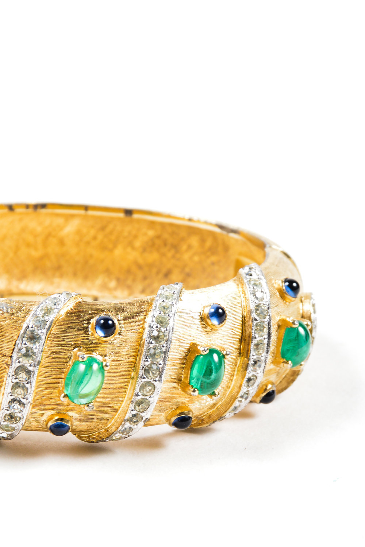 073_VINTAGE Joseph Mazer Gold Tone Rhinestone & Cabochon Jeweled Bangle Bracelet.jpg
