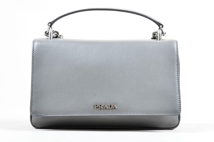 124_Prada NWOT $2250 Gray Leather Chain Strap Shoulder Bag.jpg