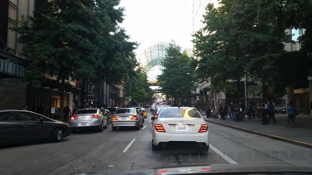Downtown Seattle street through our car window