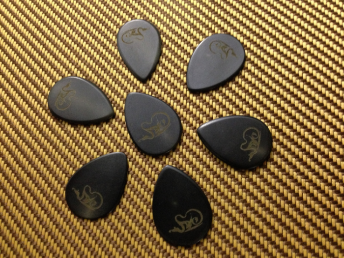 Some of my early handmade jazz picks.