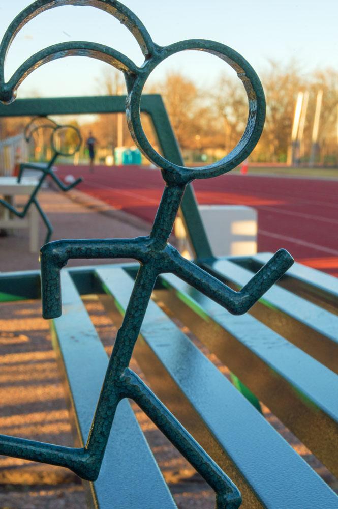 Bench at Jack Christiansen Track, Fort Collins  Nikon D3200 • Nikon 18-55mm lens • 55mm • F/29 • 1/20s • ISO 400