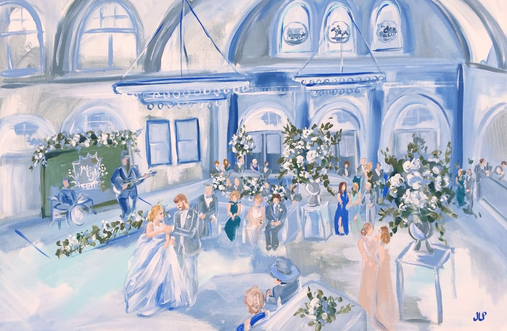Live Wedding Painting. Ashton Depot. Jennie Lou Art.