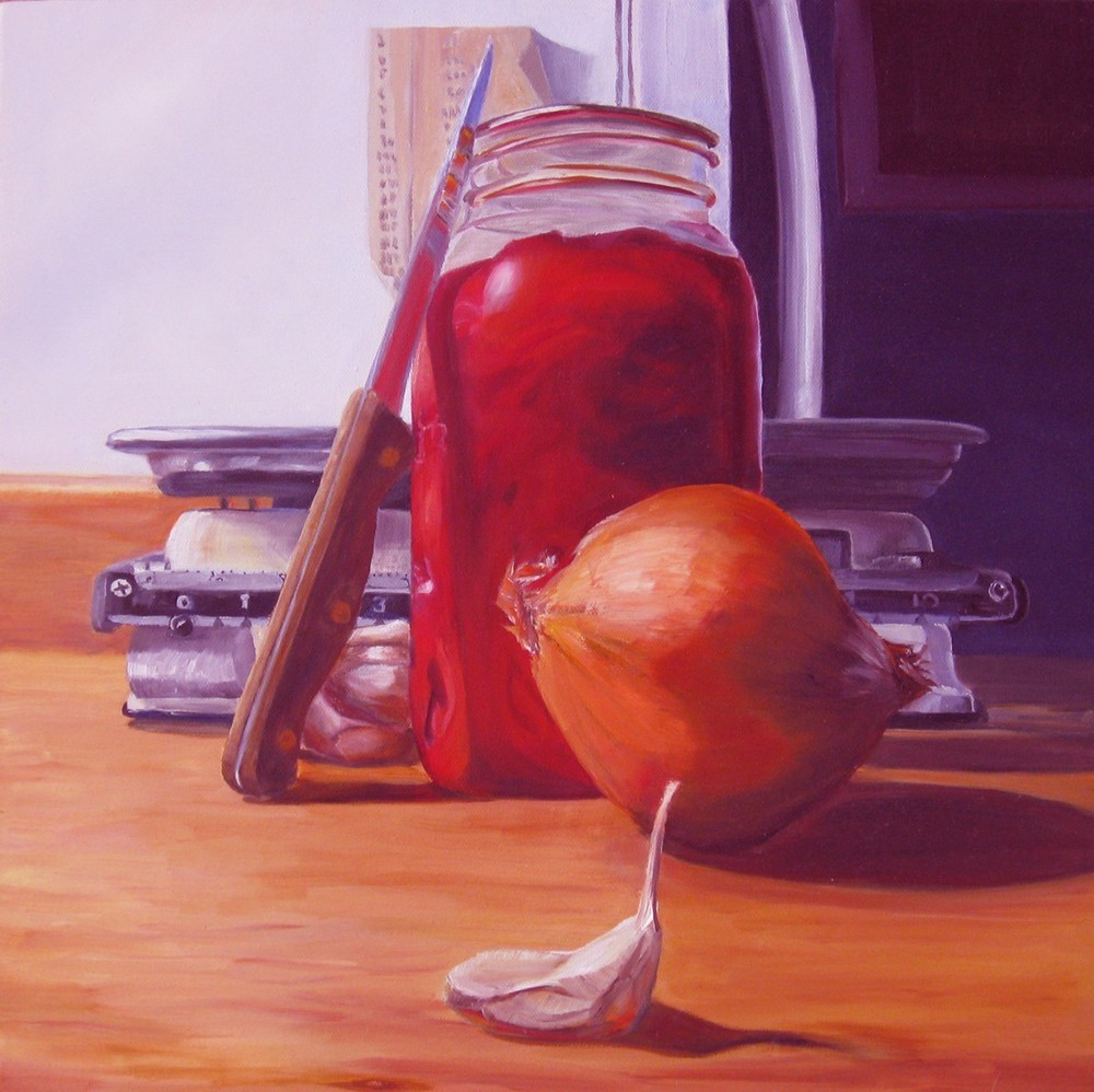 Still Life With Kitchen Scales. 2012. Oil on canvas. 16 x 16""