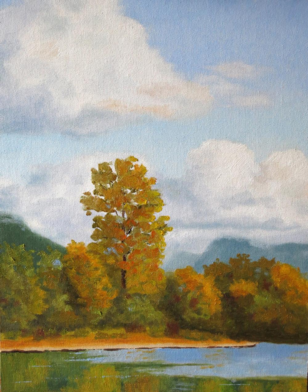 """Millpond Cottonwood.2013. Oil on panel. 14 x 11"""""""