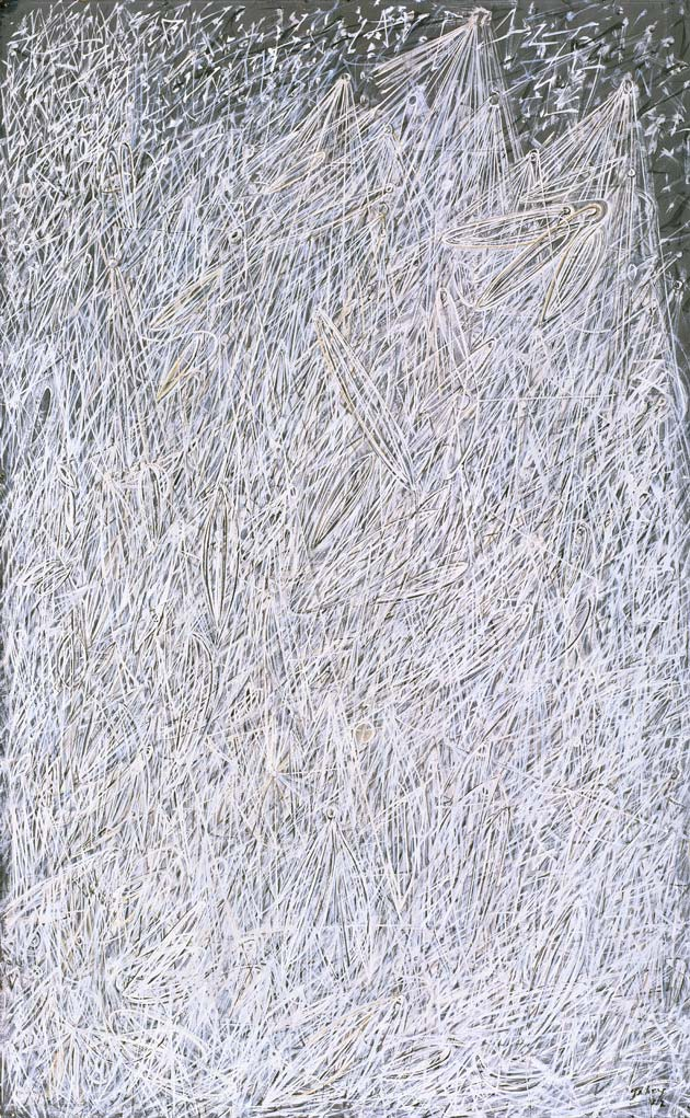 WHITE NIGHT  , 1942, MARK TOBEY, AMERICAN, 1890-1976, TEMPERA ON PAPERBOARD MOUNTED ON COMPOSITION BOARD, 22 ¼ X 14 IN.