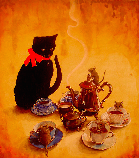 Smee's Tea Time. Gouache on Bristol. 10 x 14""