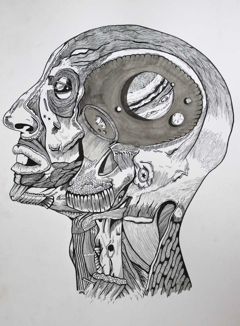 Galileo's Mind, Pen & Ink on Watercolor