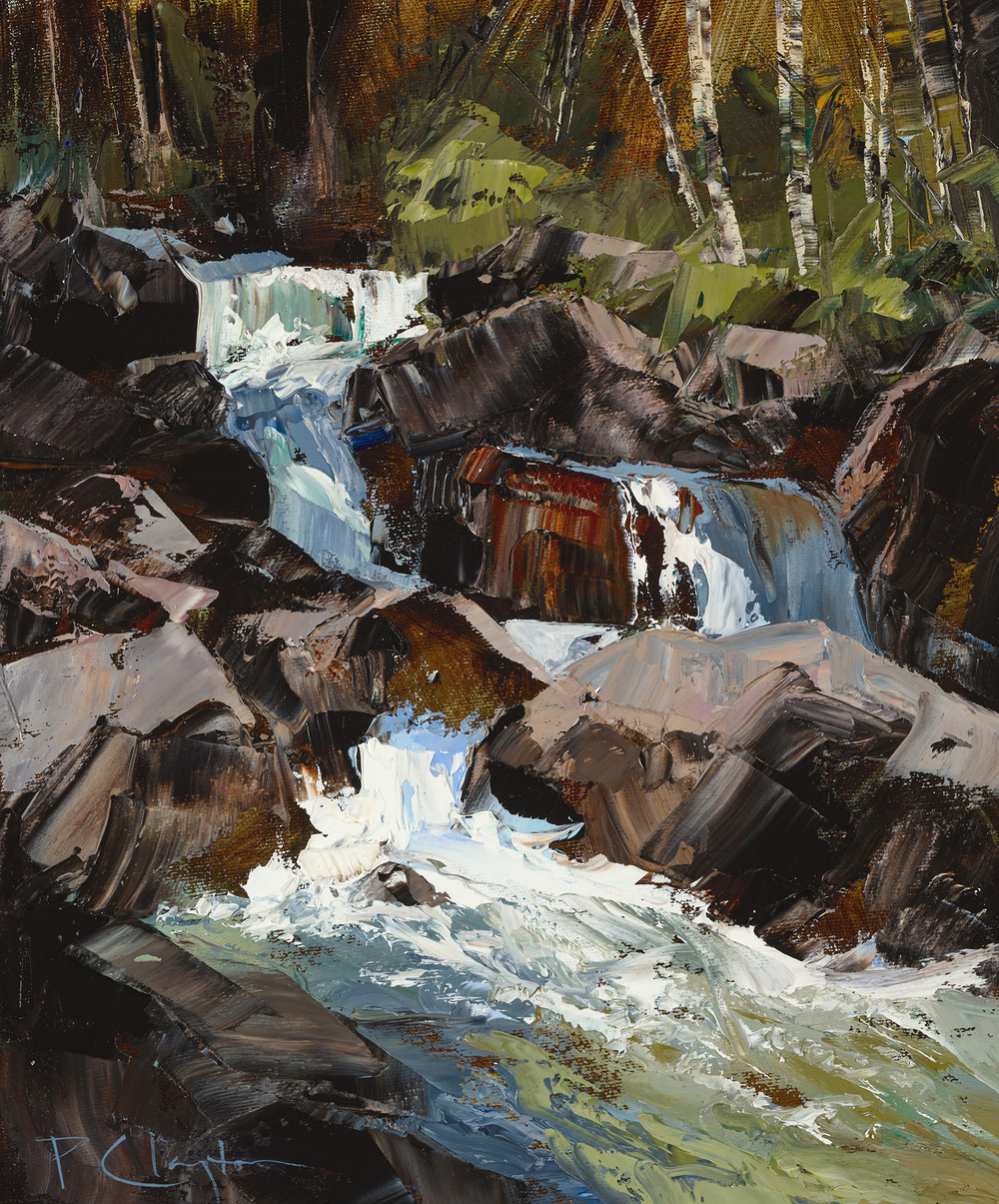 "CASCADES, 2015, 11 X 14"", oil on canvas"