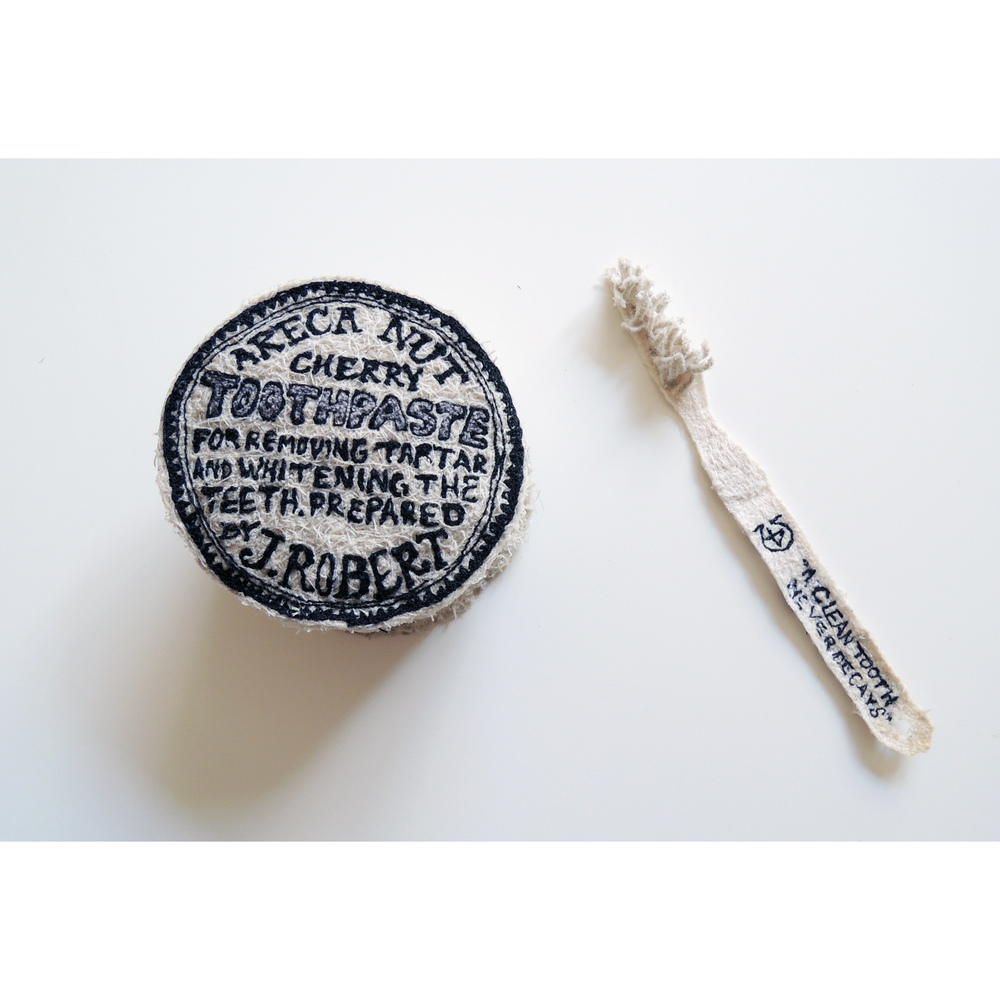 19th Century Toothbrush and Paste, free-motion embroidery 2015