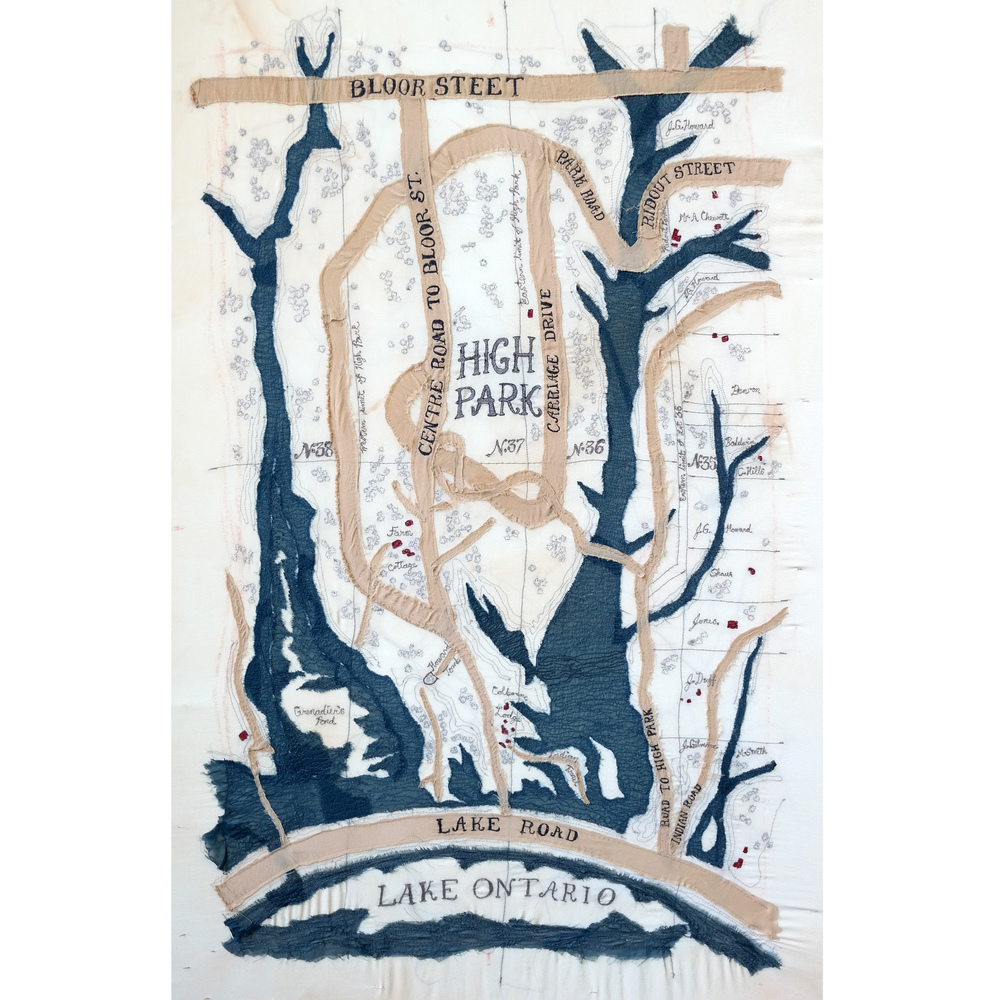 High Park Map, embroidery on silk, purchased by City of Toronto 2015