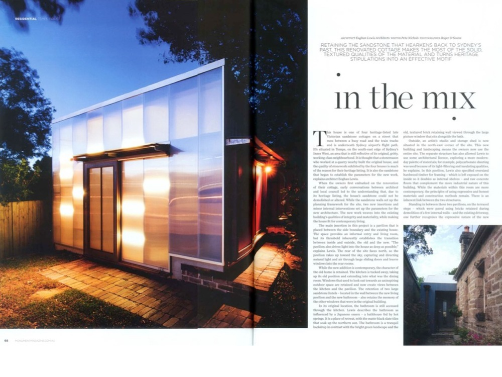 10.08.2013_Tempe House Featured in Monument   Delighted to announce that the Tempe House has been featured in  Monument . The magazine provides four pages of coverage including photographs, drawings and text.  ::