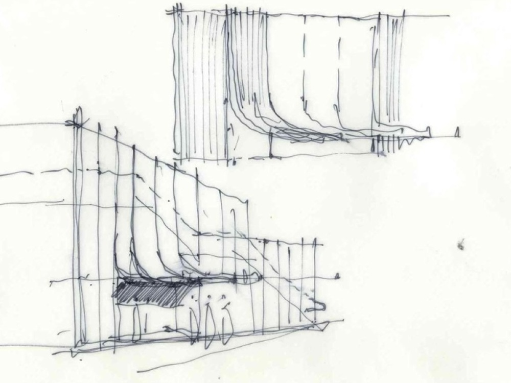 Exploratory sketch for the Sydney Opera House Visitor Information Centre competition
