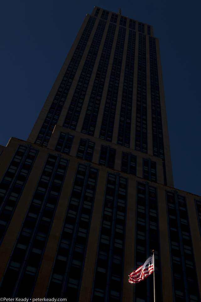 "My perspective on the Empire State building. The American flag represents the ""Republic"", not the ""democracy"". It makes a difference in civics, but does it for the person of faith?"