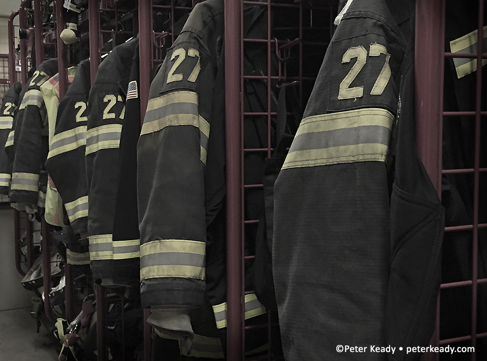 PMFD gear racks. For the firefighter, their PPE - Personal Protection Equipment - is the more important gear they have. With training and wisdom, they are always mindful of what their first calling is, personal safety.