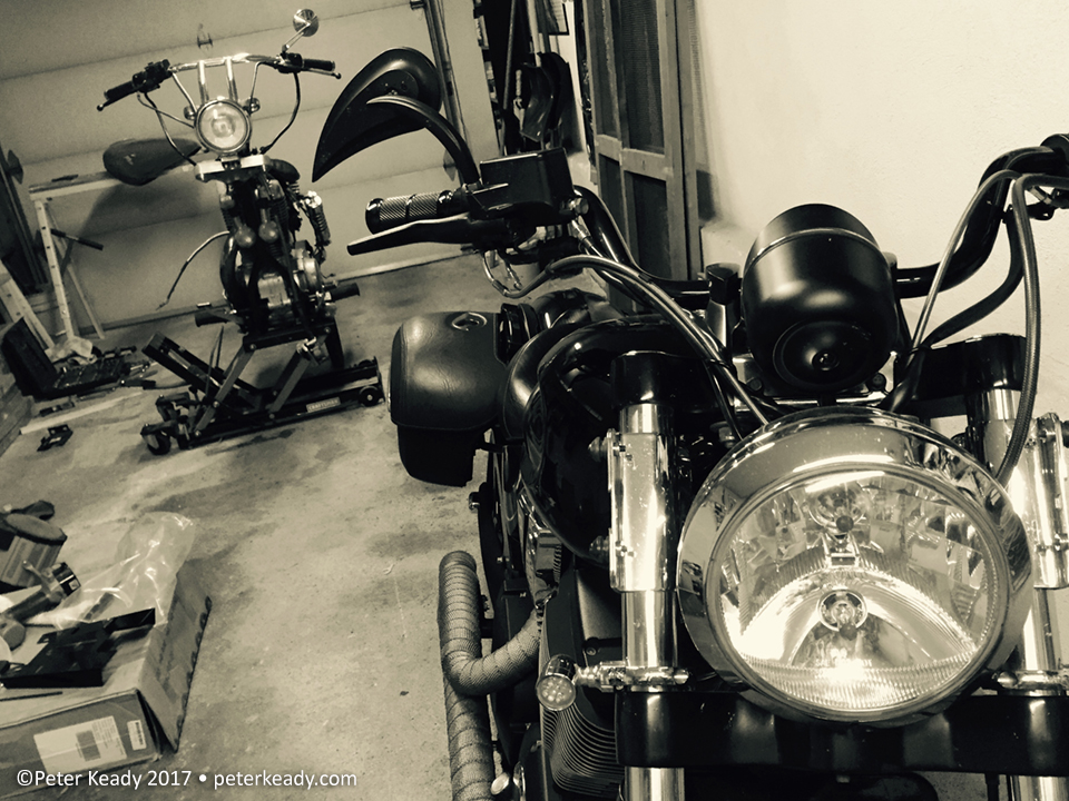 A few years ago, as therapy, I tore apart and rebuilt into a bobber a 1986 Suzuki 650. Getting it apart was easy! Putting it together again, with fewer pieces, not as easy. I had to follow the basic instructions in order to get it to work! Bike in front is my 2007 Victory Vegas 8ball.