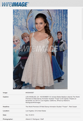 Hair & Make-up for Bailee Madison @ Frozen Premiere