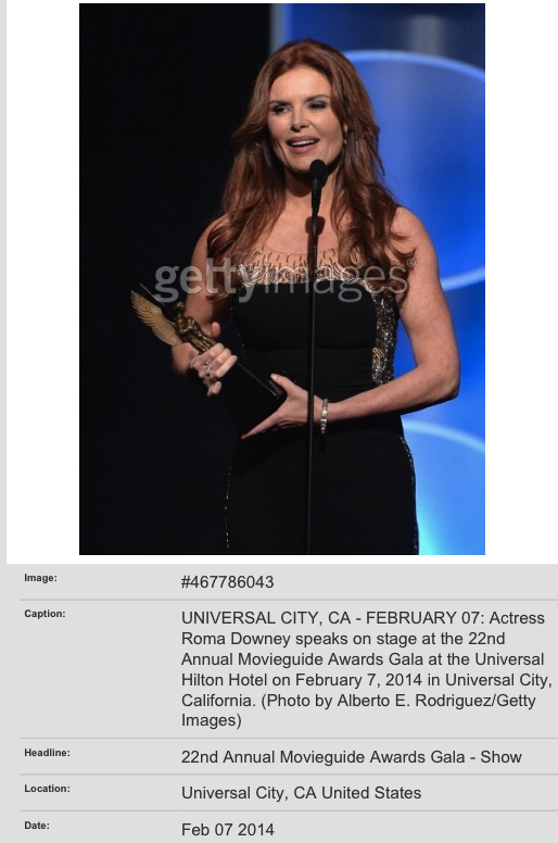 Roma Downey- 2014 Golden Globes Presenter     Make-Up Artist/ Hair Stylist- MARA CAPOZZI