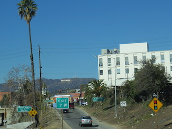 Getting a sneak peak at the Hollywood sign through L.A.  Dang these freeways are bumpy in the RV...