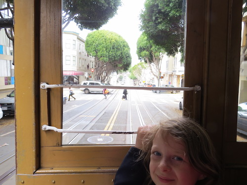 Everyones first ride on a cable car in San Francisco!