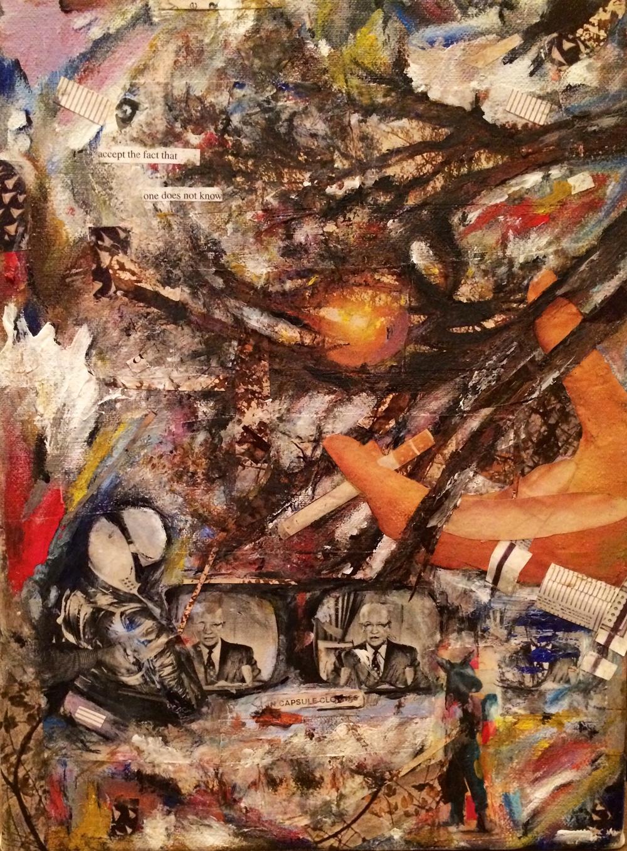"""Cosmonaut (2012) 8.5"""" x 12"""" mixed-media"""