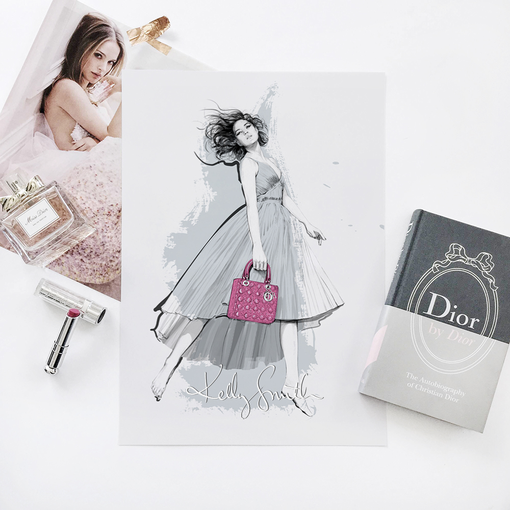 Illustration based on the Lady Dior Pre-Fall 2014 Campaign, Photographed by Jean-Baptiste Mondino.