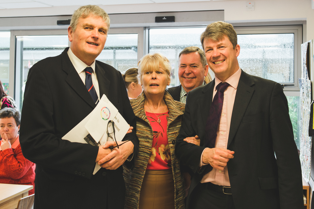 Health Minister Jim Wells, Anne Blake Chairperson of The Carers Forum on Learning Disability,Colm McKennaChairman of theSouth Eastern HSC Trust,Hugh McCaugheyChief Executive of theSouth Eastern HSC Trust