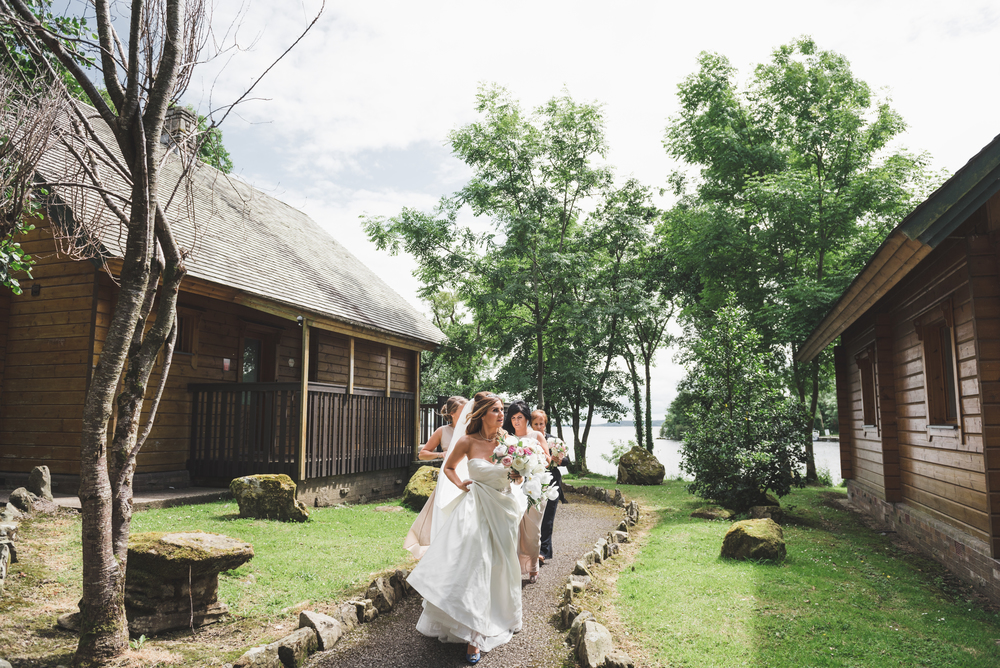 Lusty Beg Island Wedding Photographers Pure Photo N.I Bride walking