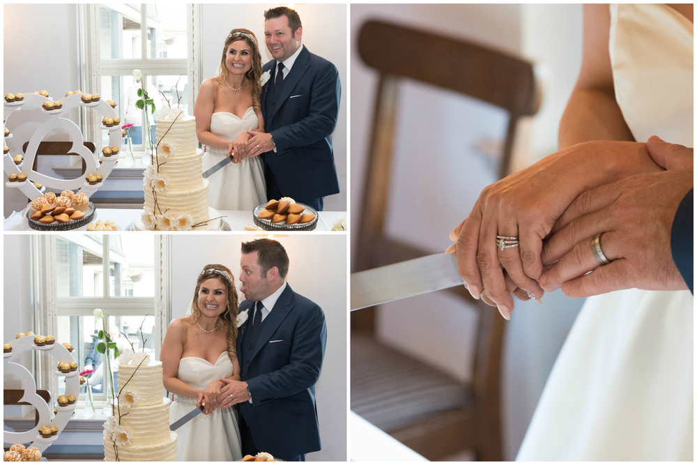 Lusty Beg Island Northern Ireland Wedding Photographers Pure Photo cutting the cake