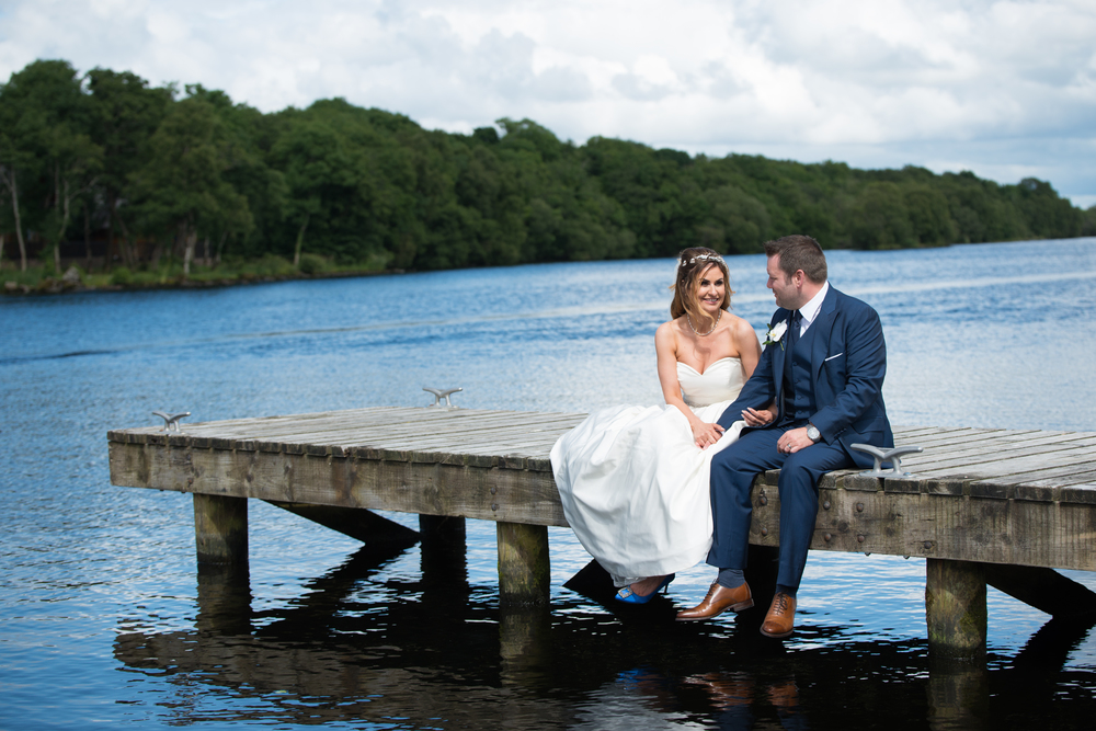 Lusty Beg Island Northern Ireland Wedding Photographers Pure Photo Bride and Groom Jetty