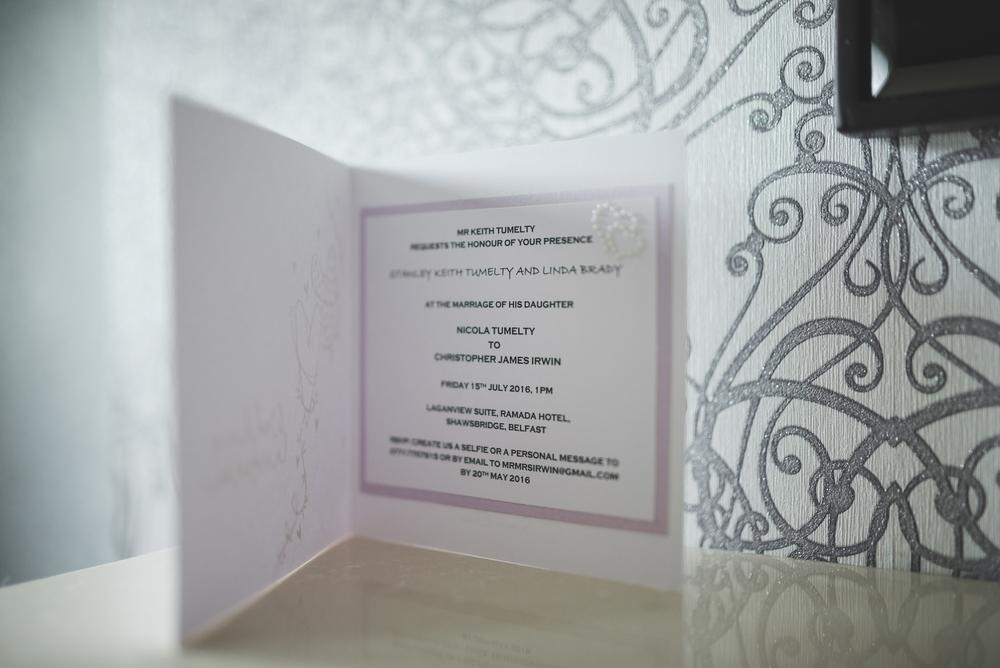 Belfast Wedding Photographer purephotoni Ramada Plaza invitation