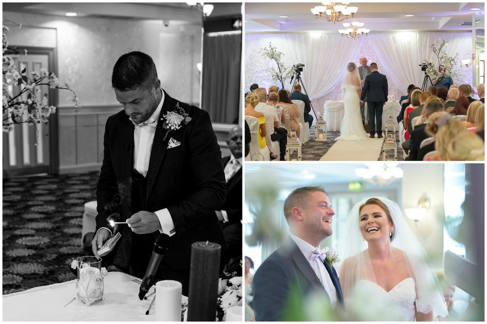 Belfast Wedding Photographer purephotoni Ramada Plaza groom candle