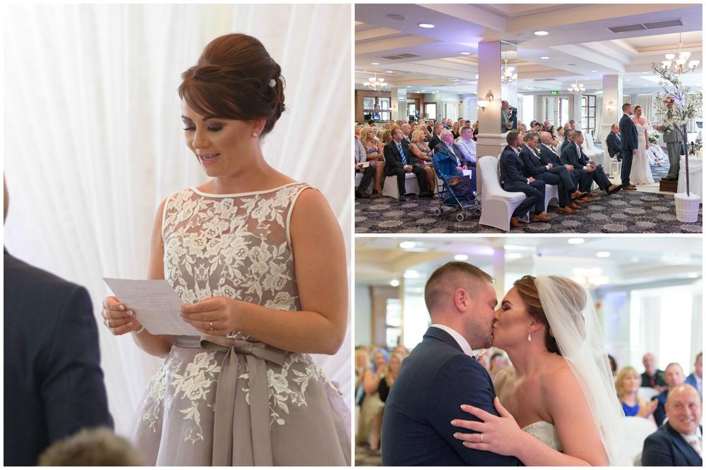 Belfast Wedding Photographer purephotoni Ramada Plaza ceremony bride and groom readings