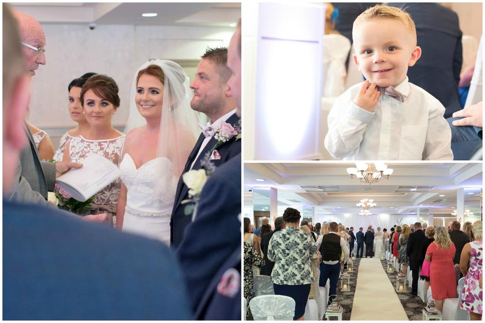 Belfast Wedding Photographer purephotoni Ramada Plaza ceremony bride and groom child