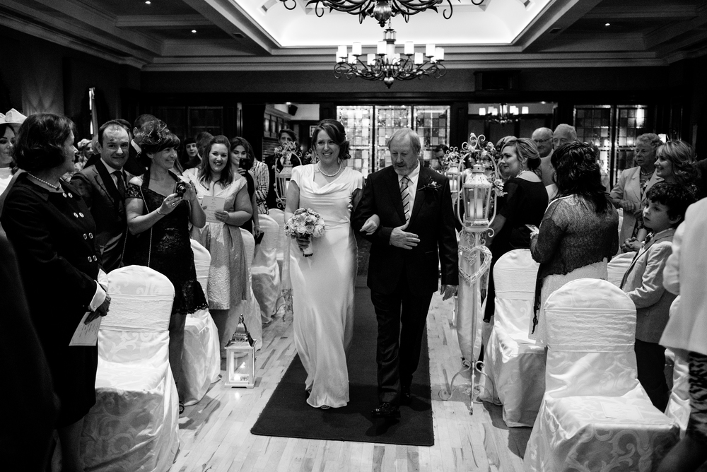 Canal Court Hotel Newry Wedding photographer Pure Photo N.I ceremony bride walking down aisle