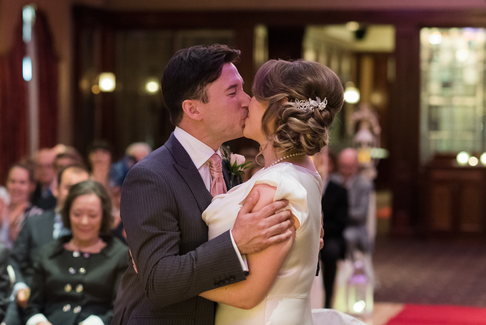Canal Court Hotel Newry Wedding photographer Pure Photo N.I ceremony bride groom kiss