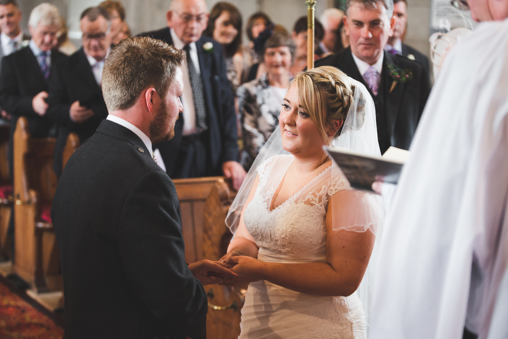 Lisburn Wedding Photographer Pure Photo N.I Magheragall Parish Church ceremony bride groom exchanging rings