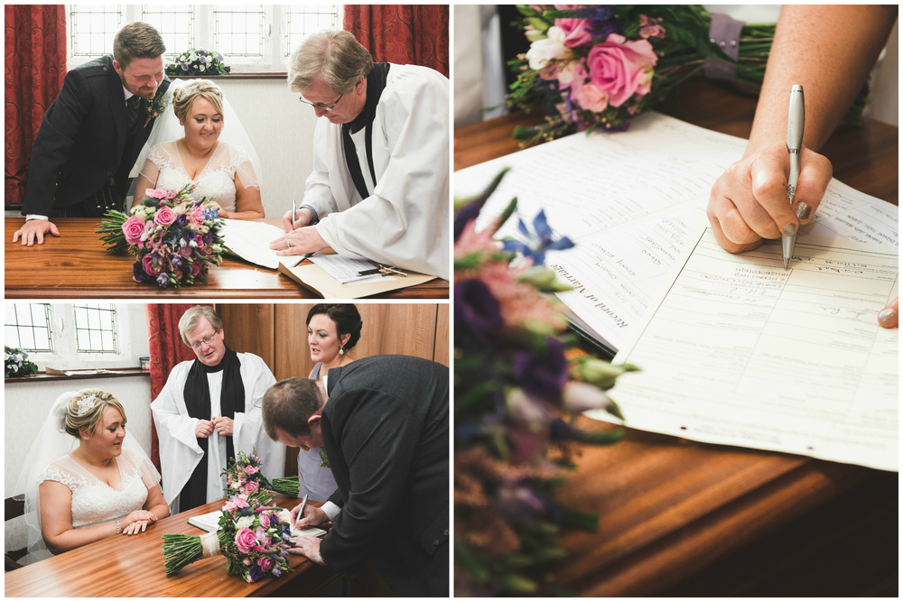 Lisburn Wedding Photographer Pure Photo N.I Magheragall Parish Church ceremony bride signing