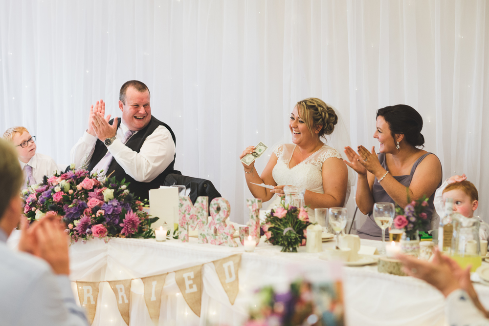 Lisburn Wedding Photographer Pure Photo N.I Edenmore Country Club speech bride reaction