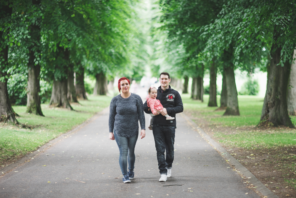 Family Portraits Pure Photo N.I Lurgan Park Mum Dad Daughter walking