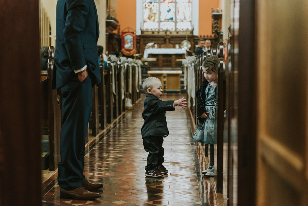 Christ Church Limavady wedding photographer Pure Photo N.I kids waiting
