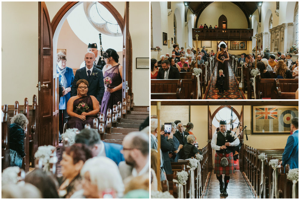 Christ Church Limavady wedding photographer Pure Photo N.I bridesmaid aisle