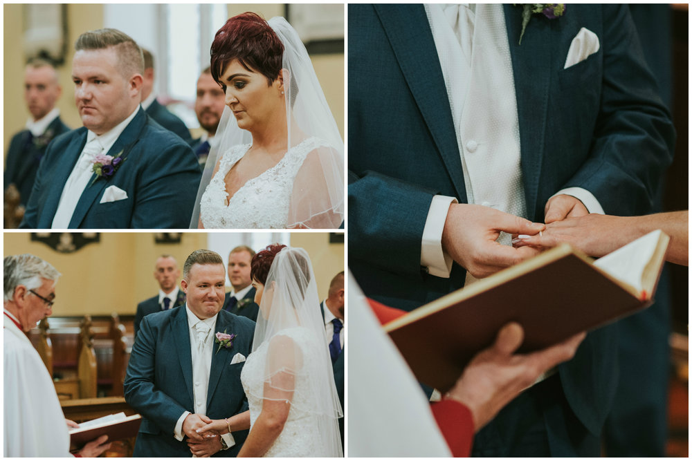 Christ Church Limavady wedding photographer Pure Photo N.I exchanging rings